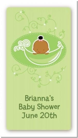 Sweet Pea African American Girl - Custom Rectangle Baby Shower Sticker/Labels