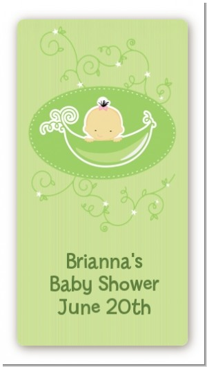 Sweet Pea Asian Girl - Custom Rectangle Baby Shower Sticker/Labels