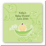 Sweet Pea Asian Girl - Square Personalized Baby Shower Sticker Labels