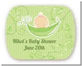 Sweet Pea Caucasian Girl - Personalized Baby Shower Rounded Corner Stickers