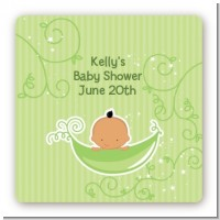 Sweet Pea Hispanic Boy - Square Personalized Baby Shower Sticker Labels