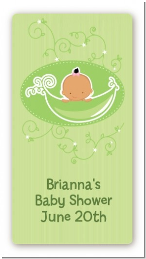 Sweet Pea Hispanic Girl - Custom Rectangle Baby Shower Sticker/Labels