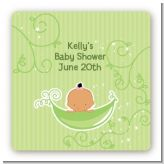 Sweet Pea Hispanic Girl - Square Personalized Baby Shower Sticker Labels
