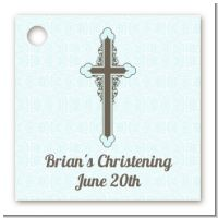 Cross Blue & Brown - Personalized Baptism / Christening Card Stock Favor Tags
