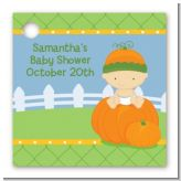 Pumpkin Baby Caucasian - Personalized Baby Shower Card Stock Favor Tags