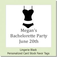 Lingerie Black - Personalized Bachelorette Party Card Stock Favor Tags