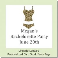 Lingerie Leopard - Personalized Bachelorette Party Card Stock Favor Tags