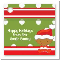 Christmas Baby African American - Personalized Baby Shower Card Stock Favor Tags