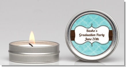 Teal & Brown - Graduation Party Candle Favors