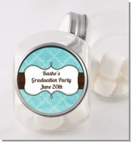 Teal & Brown - Personalized Graduation Party Candy Jar