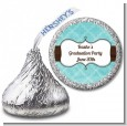 Teal & Brown - Hershey Kiss Graduation Party Sticker Labels thumbnail