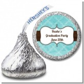 Teal & Brown - Hershey Kiss Graduation Party Sticker Labels