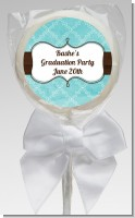 Teal & Brown - Personalized Graduation Party Lollipop Favors