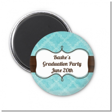 Teal & Brown - Personalized Graduation Party Magnet Favors
