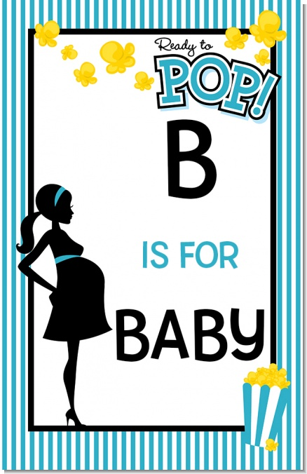 Ready To Pop Teal - Personalized Baby Shower Nursery Wall Art