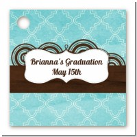 Teal & Brown - Personalized Graduation Party Card Stock Favor Tags