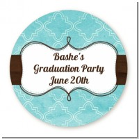 Teal & Brown - Round Personalized Graduation Party Sticker Labels