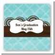 Teal & Brown - Square Personalized Graduation Party Sticker Labels thumbnail