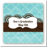 Teal & Brown - Square Personalized Graduation Party Sticker Labels