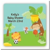 Team Safari - Square Personalized Baby Shower Sticker Labels