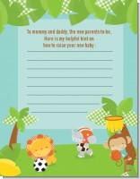 Team Safari - Baby Shower Notes of Advice