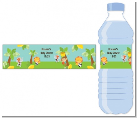 Team Safari - Personalized Baby Shower Water Bottle Labels
