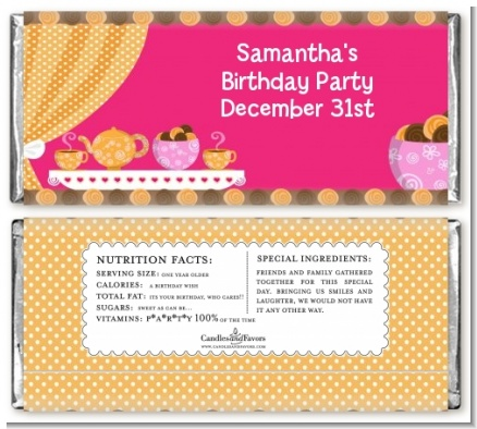 Tea Party - Personalized Birthday Party Candy Bar Wrappers