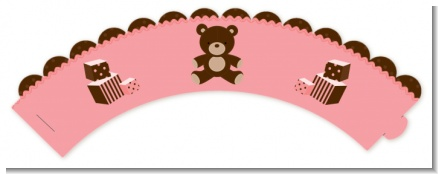 Teddy Bear Pink - Baby Shower Cupcake Wrappers