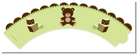 Teddy Bear Neutral - Birthday Party Cupcake Wrappers