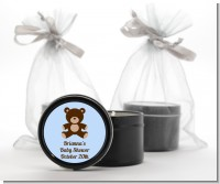 Teddy Bear Blue - Baby Shower Black Candle Tin Favors