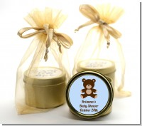 Teddy Bear Blue - Baby Shower Gold Tin Candle Favors