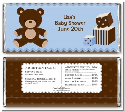 Teddy Bear Blue - Personalized Baby Shower Candy Bar Wrappers