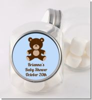 Teddy Bear Blue - Personalized Baby Shower Candy Jar