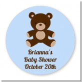 Teddy Bear Blue - Round Personalized Baby Shower Sticker Labels