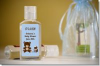 Teddy Bear Blue - Personalized Baby Shower Hand Sanitizers Favors