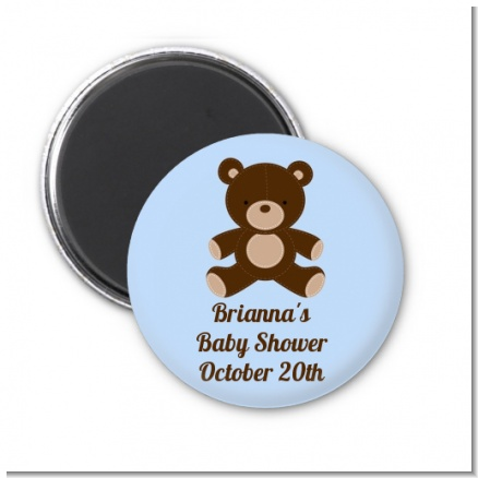 Teddy Bear Blue - Personalized Baby Shower Magnet Favors