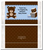 Teddy Bear Blue - Personalized Popcorn Wrapper Baby Shower Favors