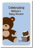 Teddy Bear Blue - Custom Large Rectangle Baby Shower Sticker/Labels