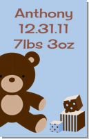 Teddy Bear Blue - Personalized Baby Shower Nursery Wall Art