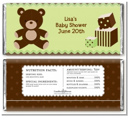 Teddy Bear Neutral - Personalized Baby Shower Candy Bar Wrappers
