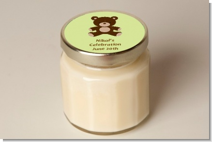 Teddy Bear Neutral - Baby Shower Personalized Candle Jar