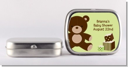 Teddy Bear Neutral - Personalized Baby Shower Mint Tins