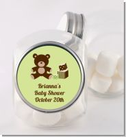 Teddy Bear Neutral - Personalized Baby Shower Candy Jar