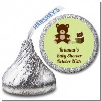 Teddy Bear Neutral - Hershey Kiss Baby Shower Sticker Labels