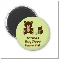 Teddy Bear Neutral - Personalized Baby Shower Magnet Favors