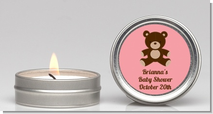 Teddy Bear Pink - Baby Shower Candle Favors