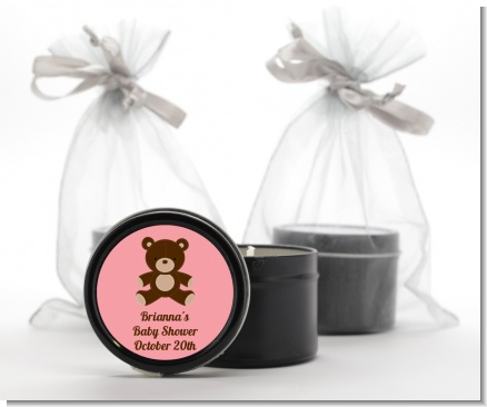 Teddy Bear Pink - Baby Shower Black Candle Tin Favors
