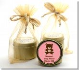 Teddy Bear Pink - Baby Shower Gold Tin Candle Favors