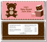 Teddy Bear Pink - Personalized Baby Shower Candy Bar Wrappers