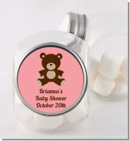 Teddy Bear Pink - Personalized Baby Shower Candy Jar